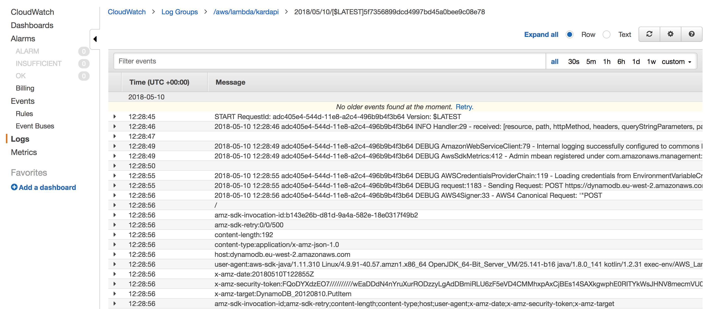 Snapshot of CloudWatch logging