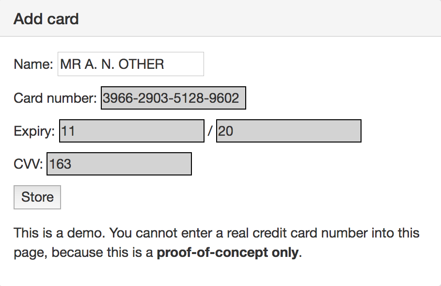 Screenshot of the static form